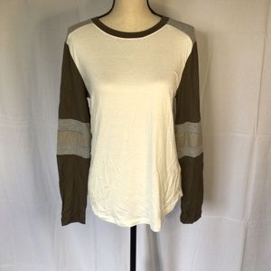 Olive white and Gray long sleeve tee